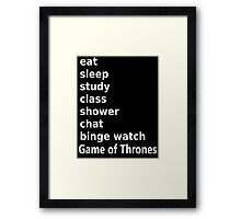 University coed to do list - Game of Thrones Framed Print