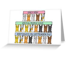 Cats celebrating birthday on September 2nd. Greeting Card