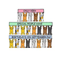 Cats celebrating birthday on September 2nd. Photographic Print