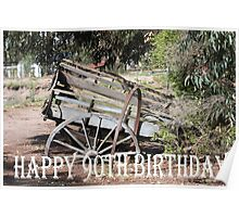 Happy  90th Birthday rustic farm cart Poster