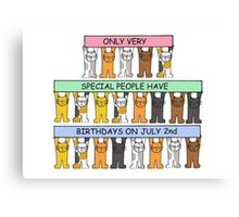 Cartoon cats celebrating July 2nd Birthday. Canvas Print