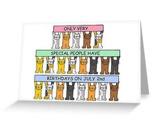 Cartoon cats celebrating July 2nd Birthday. Greeting Card