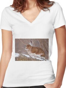Snow Shoe Hare  Women's Fitted V-Neck T-Shirt