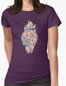 Pink and Peach Linework Floral Pattern T-Shirt