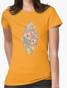 Pink and Peach Linework Floral Pattern Womens Fitted T-Shirt