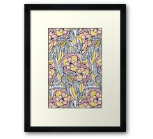 Pink and Peach Linework Floral Pattern Framed Print