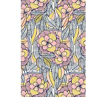 Pink and Peach Linework Floral Pattern Photographic Print