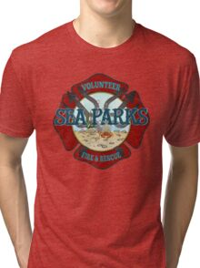 IT Crowd Inspired - Fire at Sea Parks - Sea Parks Volunteer Fire & Rescue - British Comedy Quotes Tri-blend T-Shirt