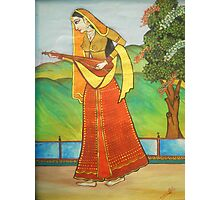 Ancient Indian Lady with Musical Instrument Photographic Print