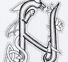 Oscar (Celtic Alphabet letter N) BW by Donna Huntriss