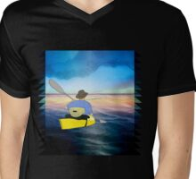 Kayak Man Mens V-Neck T-Shirt