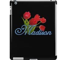 Madison With Red Tulips and Cobalt Blue Script iPad Case/Skin