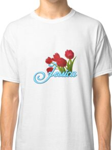 Jessica With Red Tulips and Neon Blue Script Classic T-Shirt