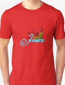 Jessica With Red Tulips and Neon Blue Script T-Shirt
