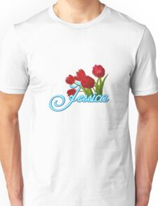Jessica With Red Tulips and Neon Blue Script Unisex T-Shirt