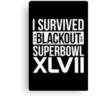 I Survived NFL Superbowl XLVII Blackout T-Shirts & More Canvas Print