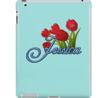 Jessica With Red Tulips and Cobalt Blue Script iPad Case/Skin
