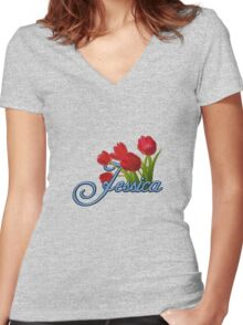 Jessica With Red Tulips and Cobalt Blue Script Women's Fitted V-Neck T-Shirt
