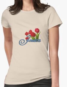 Jessica With Red Tulips and Cobalt Blue Script T-Shirt