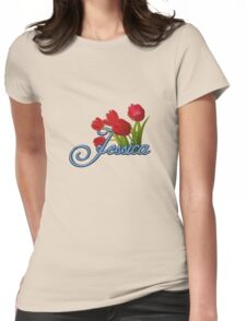 Jessica With Red Tulips and Cobalt Blue Script Womens Fitted T-Shirt