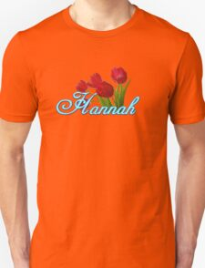 Hannah With Red Tulips and Neon Blue Script T-Shirt