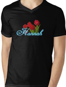Hannah With Red Tulips and Neon Blue Script Mens V-Neck T-Shirt