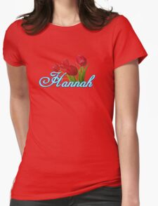Hannah With Red Tulips and Neon Blue Script Womens Fitted T-Shirt