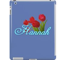 Hannah With Red Tulips and Neon Blue Script iPad Case/Skin