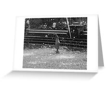 """""""she raises her hands up in joy as the water rains down."""" Greeting Card"""
