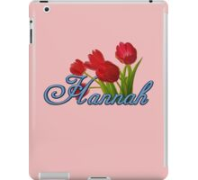 Hannah With Red Tulips and Cobalt Blue Script iPad Case/Skin