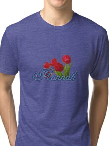 Hannah With Red Tulips and Cobalt Blue Script Tri-blend T-Shirt