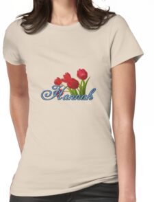 Hannah With Red Tulips and Cobalt Blue Script Womens Fitted T-Shirt