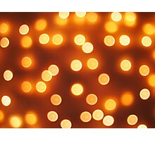 Abstract defocused and blur bokeh of small yellow lights Photographic Print