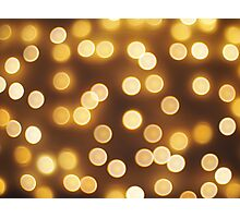 Abstract defocused and blur bokeh of small yellow flames Photographic Print