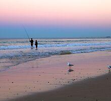 ''Fishing at dusk''    Surfers Paradise by Reginadez