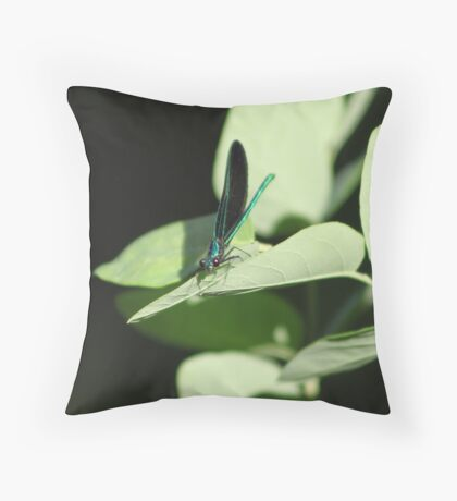 Emerald Dragonfly Throw Pillow