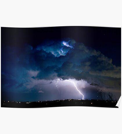 Clouds of Light. Lightning Striking Boulder County Colorado. Poster