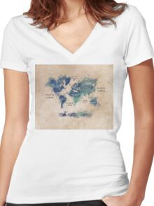 World map continents  Women's Fitted V-Neck T-Shirt