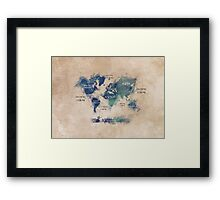World map continents  Framed Print