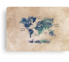 World map continents  Canvas Print