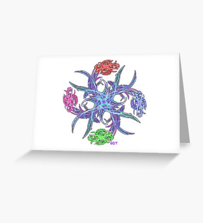 Fractal Flower Bouquet Star - pinwheel on white Greeting Card