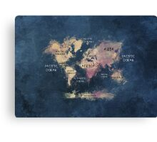 World map blue  Canvas Print