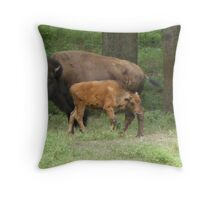 Bison,Cow and her calf Throw Pillow