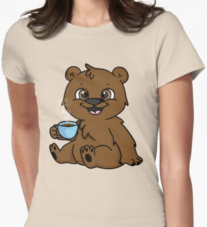 Coffee Bear  Womens Fitted T-Shirt
