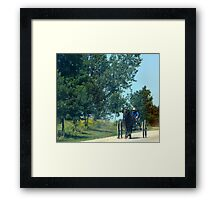 mennonite boy driving buggy Framed Print