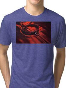 Slave Collar on Scarlet Satin Tri-blend T-Shirt