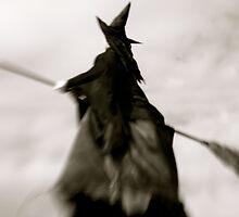 Wicked Flight, Witch Flying thru Gray, Foggy Skies by kelleygirl