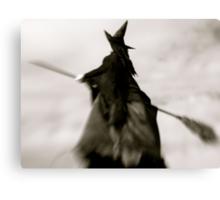 Wicked Flight, Witch Flying thru Gray, Foggy Skies Canvas Print