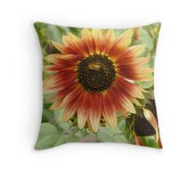Bee Buzzing on Sunflower Throw Pillow
