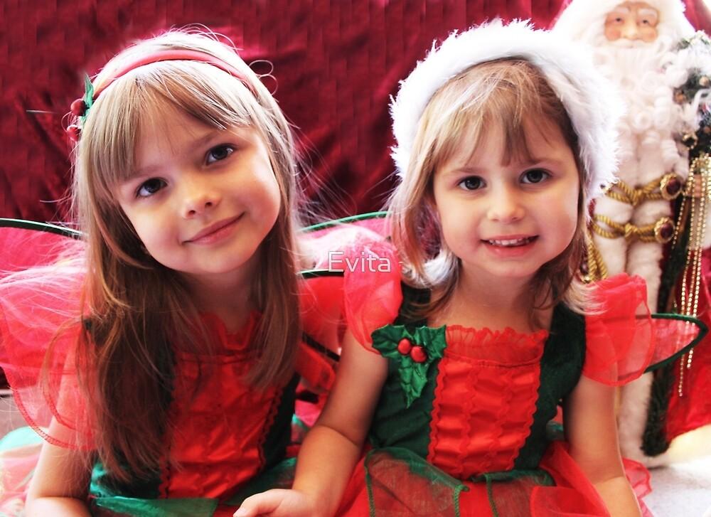 Little Girls Waiting For Santa by Evita